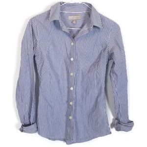 Banana Republic Blue & White Striped Button Down